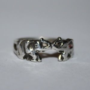 Jewelry - Trunk Up two elephants sterling silver ring Lucky!